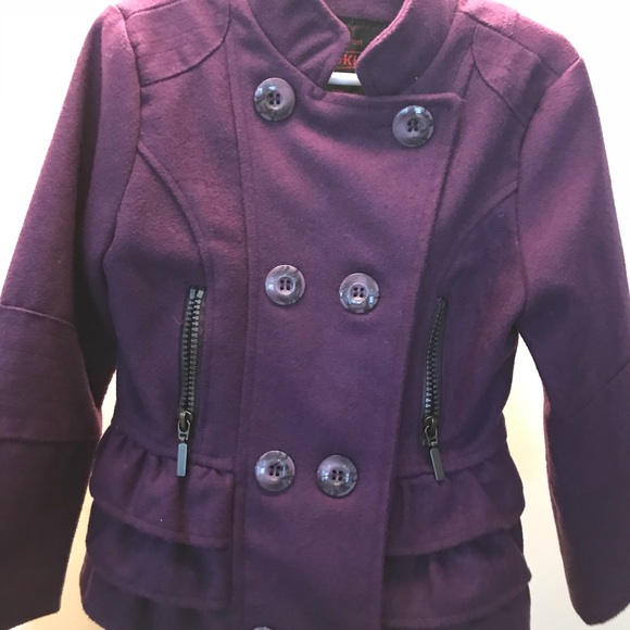 5953d048085 Girls purple pea coat with ruffle back 4T